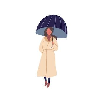 Fille avec illustration vectorielle plane parapluie. saison d'automne, jour de pluie, marche sous la pluie. jeune femme debout seule. dame portant le personnage de couleur de dessin animé imperméable isolé sur fond blanc.