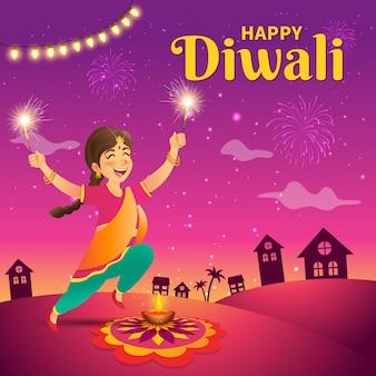 Fille indienne de dessin animé mignon en vêtements traditionnels sautant et jouant