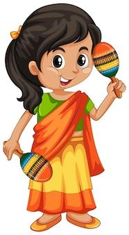 Fille indienne avec deux maracas
