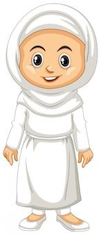 Fille indonésienne en costume blanc