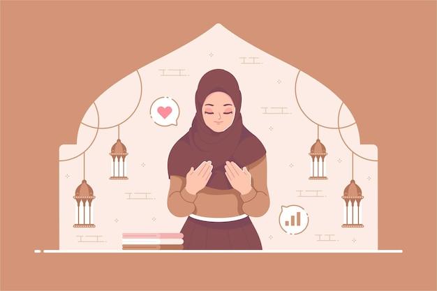 Fille islamique priant