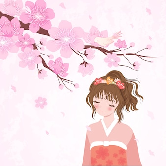 Fille japonaise fleur de cerisier en kimono