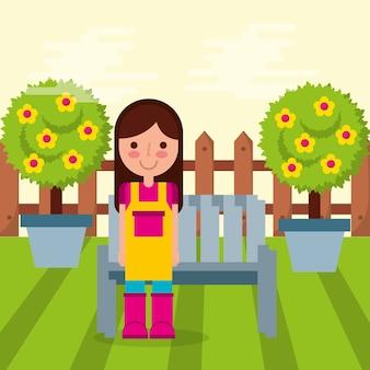 Fille jardinier