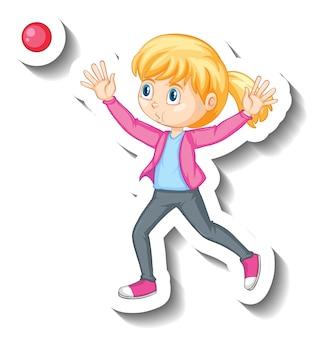 Une fille jetant un autocollant de personnage de dessin animé de balle