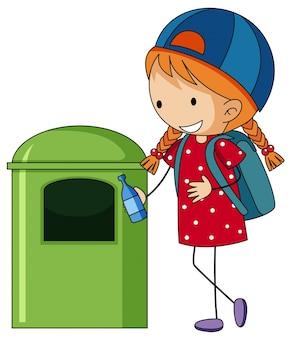 Fille jetant une bouteille dans la poubelle