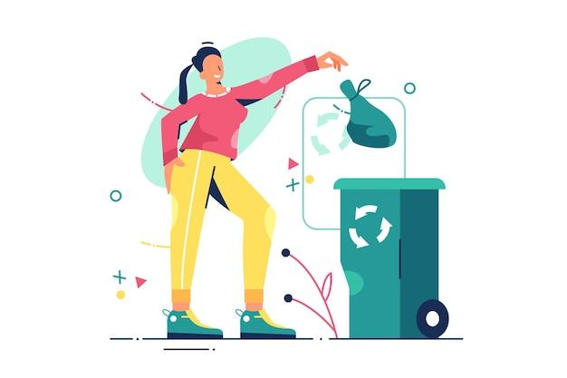 Fille jette l'illustration de la poubelle