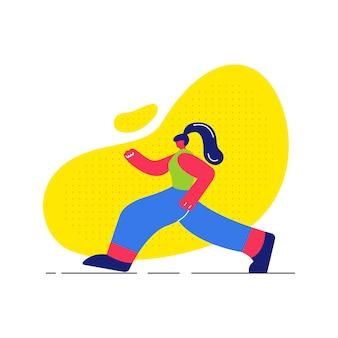 Fille jogging, travaillant à plat illustration