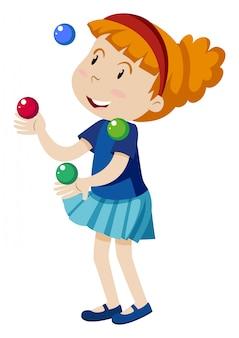 Une fille jonglant sur fond blanc