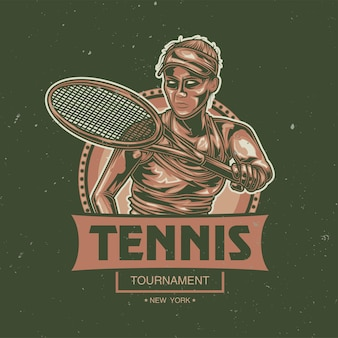 Fille jouant au tennis illustration