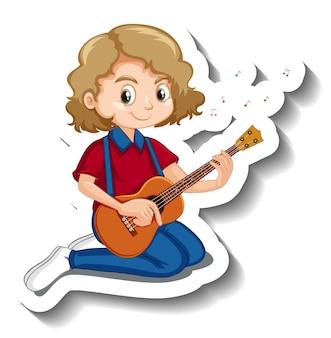 Une fille jouant l'autocollant de personnage de dessin animé de guitare acoustique