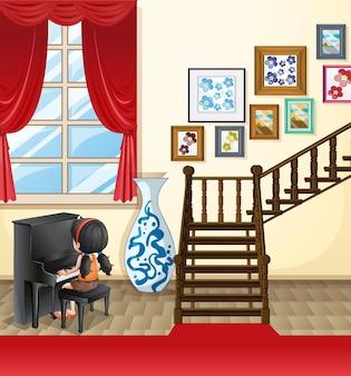 Fille jouant du piano dans la maison