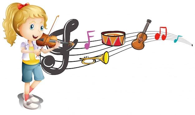 Fille jouant du violon avec des notes de musique en arrière-plan