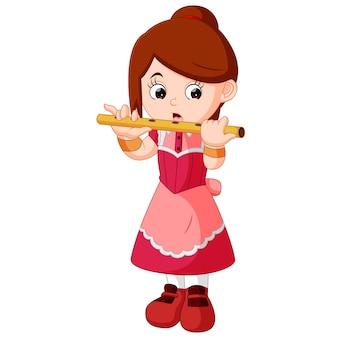 Fille jouant de la flûte
