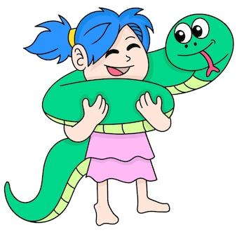 La fille jouant avec le gros python de compagnie, doodle dessiner kawaii. illustration vectorielle