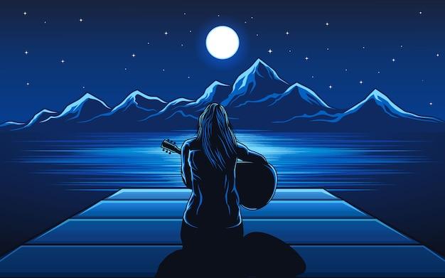 Fille jouant de la guitare du vecteur de nuit