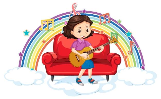 Fille jouant de la guitare avec des symboles de mélodie sur l'arc-en-ciel