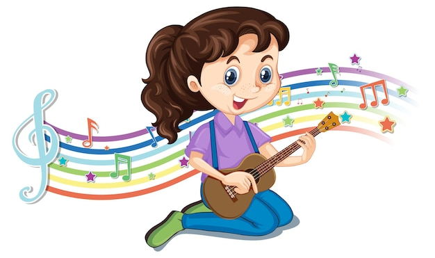 Fille jouant de la guitare avec des symboles de mélodie sur la vague arc-en-ciel