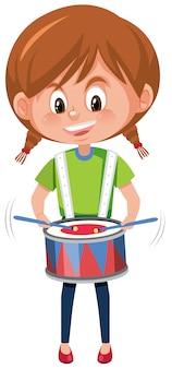 Une fille joue du tambour