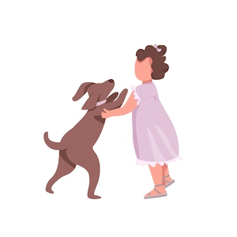 Fille joue avec des personnages sans visage de couleur plate de chien. petit enfant veut embrasser un chiot mignon. embrassez le chien. illustration de dessin animé isolé enfance heureuse pour la conception graphique et l'animation web