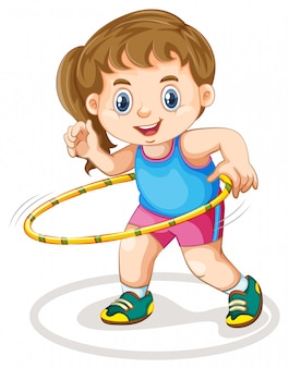 Fille joufflue faire de l'exercice