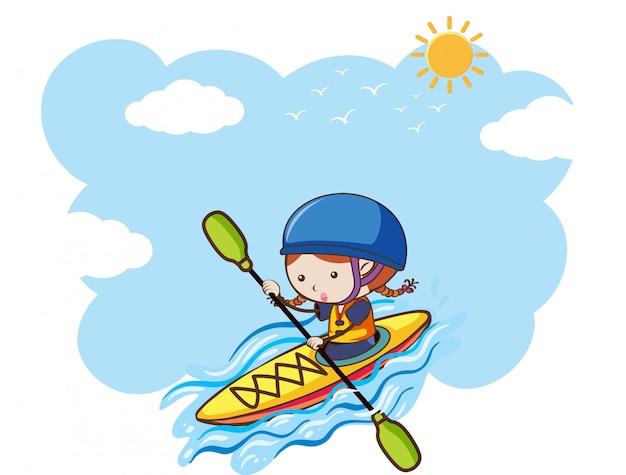 Une fille kayak sur une journée ensoleillée