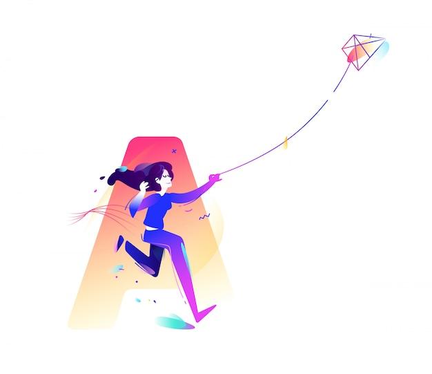 La fille lance un cerf-volant.