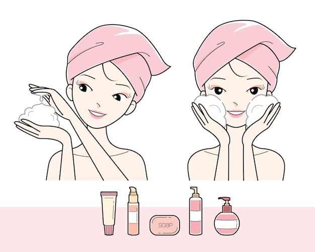Fille laver le visage avec de la mousse