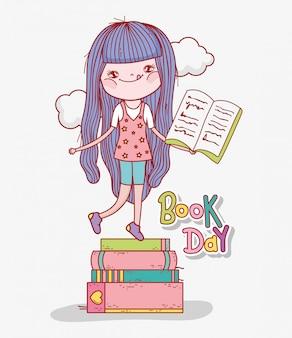 Fille lire des livres à apprendre à la journée de la littérature