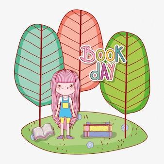 Fille lire des livres pour apprendre avec des arbres