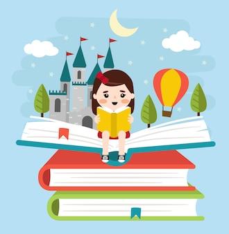 Fille lisant un conte de fées de princesse et de châteaux sur une pile de livres