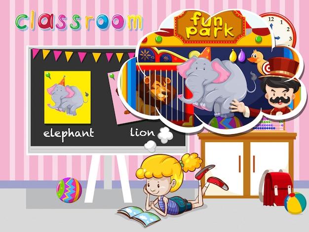 Fille lisant dans la salle de classe