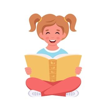 Fille lisant un livre fille étudiant avec un livre