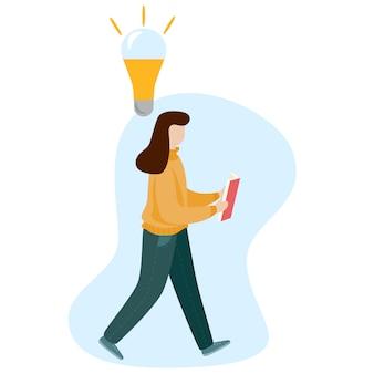 Fille lisant un livre et marchant. illustration de caractère vectoriel style plat isolé