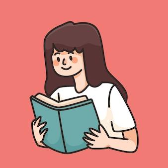 Fille lisant livre mignon dessin animé illustration éducation concept