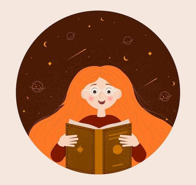 La fille lit le livre
