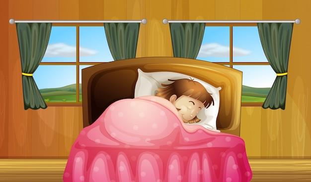 Fille sur lit