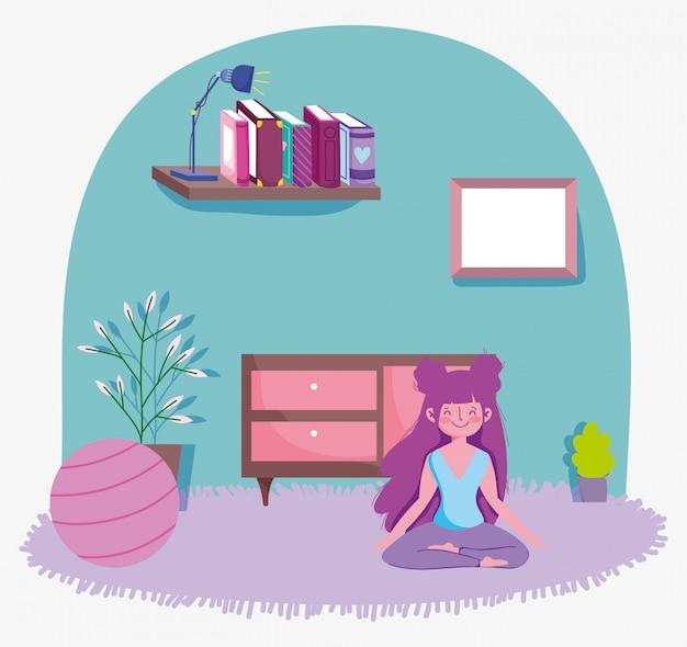 Fille en lotus pose yoga avec ballon dans la chambre, exercices à la maison