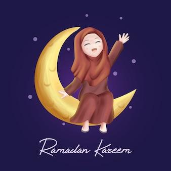 Fille sur la lune dans le ramadan kareem