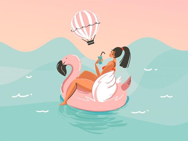 Une fille en maillot de bain nageant avec un anneau en caoutchouc flamant rose isolé sur fond de vague de l'océan
