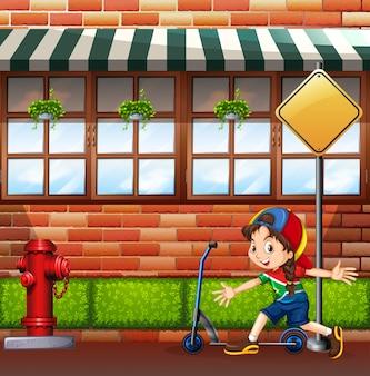 Fille et main scooter sur rue