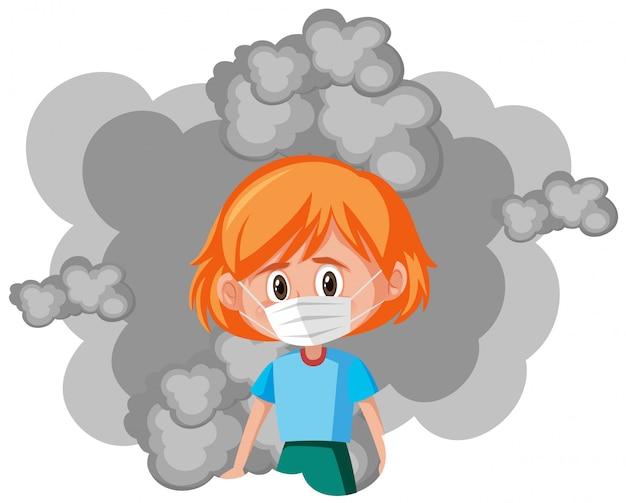 Fille malade portant un masque avec de la fumée