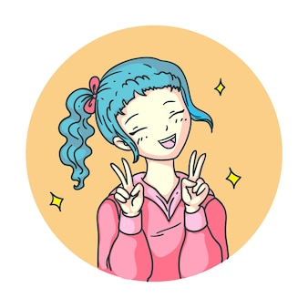Fille de manga anime ravie de joie en riant emoji isolé