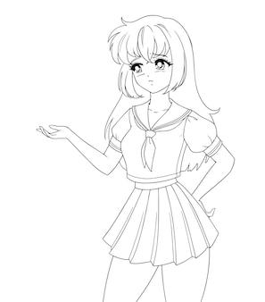 Fille de manga anime triste portant l'uniforme scolaire isolé.