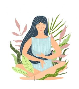 Fille de méditation isolée dans la conception plate de la nature. esprit paisible et calme. illustration plate de yoga et de méditation.