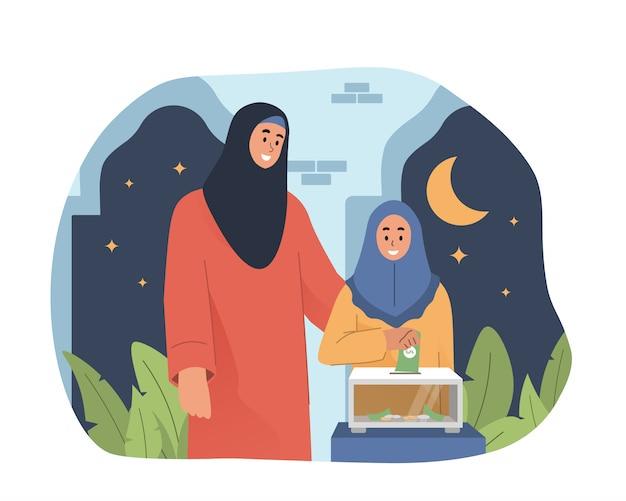 Fille mettant la pièce dans la boîte de donation dans la mosquée. concept de charité et de don
