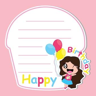 Une fille mignonne apporte ballon sur un cadre à gâteau vecteur de dessin animé pour carte d'anniversaire