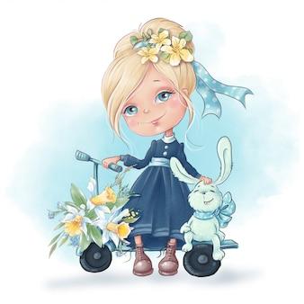 Fille mignonne de bande dessinée avec des amis lapin, avec des fleurs de printemps