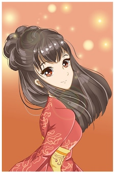 Fille mignonne et belle avec illustration de conception de kimono rouge