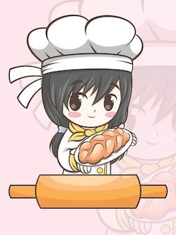 Fille mignonne de chef de boulangerie présentant un pain - illustration de personnage et logo de dessin animé