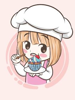 Fille mignonne de chef de boulangerie tenant un petit gâteau - personnage de dessin animé et illustration de logo